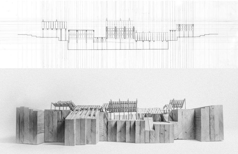 Digital rendering of an architectural structure, depicted above a physical model of the rendering constructed from wood.