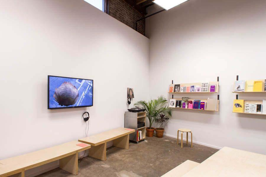 Room with a lot of white wall space, small screen and several shelves with different kinds of books on them.