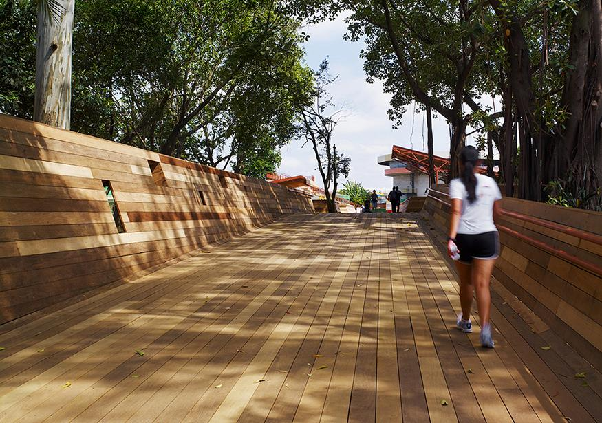 Digital rendering of a walking path consisting of. series of wooden panels.