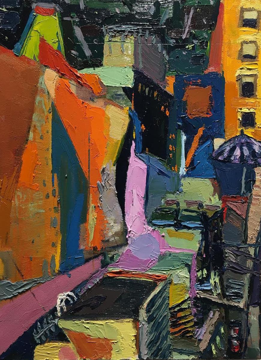 Abstract painting of the street 26 Broadway, NY with different shapes and shades of blue, orange, pink, black, yellow, purple, and green.