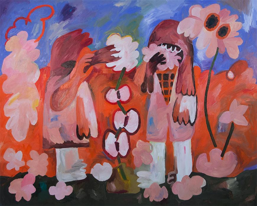 Painting of two figures surrounded by abstract nature in various hues of orange and purple.
