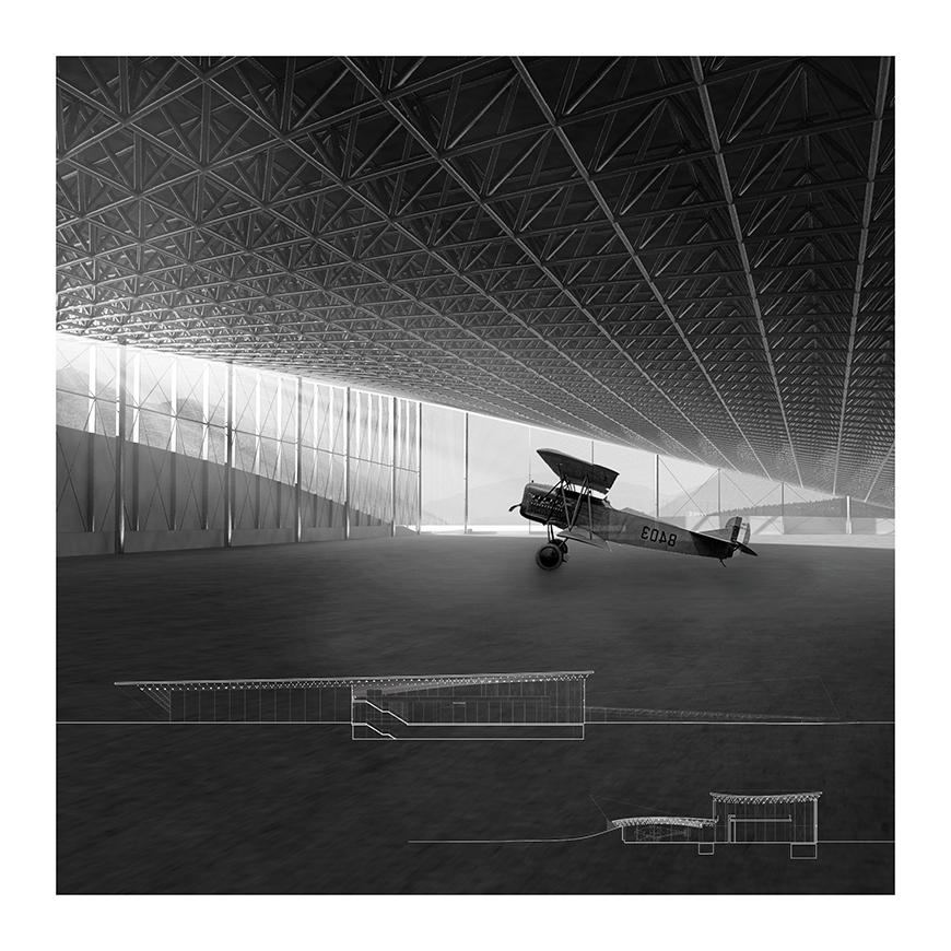 Digital rendering of the interior of a hangar.