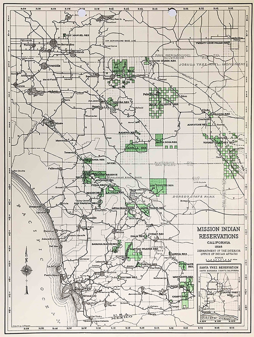 Map showing jurisdiction of the Mission Indian Agency in California, 1938.