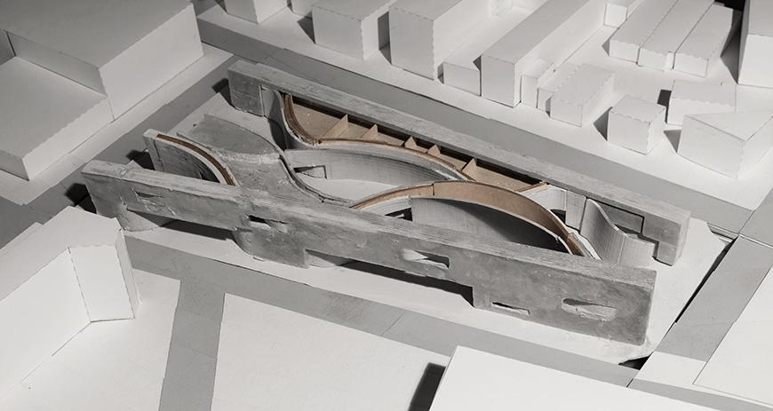 aerial view of model in concrete and matboard