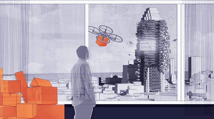 Digital rendering of a drone delivering an orange package.