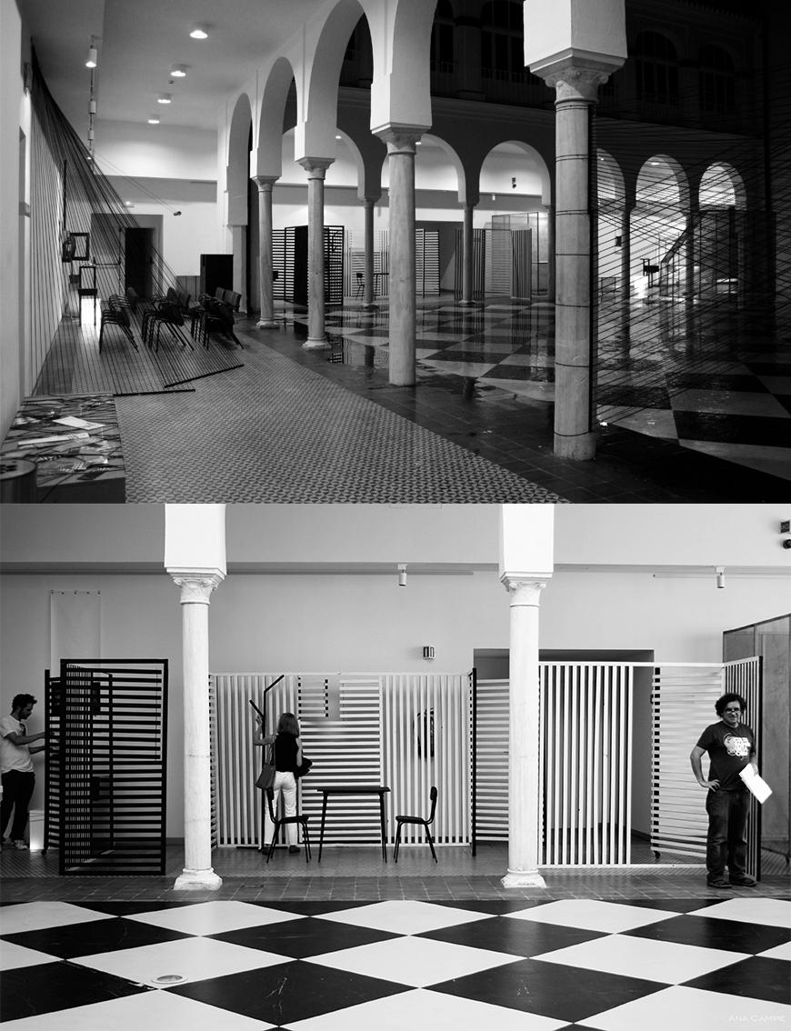 two black and white photos or large rooms with columns and a checkered floor