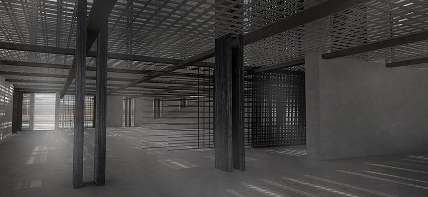 Digital rendering of the interior of an architectural structure.