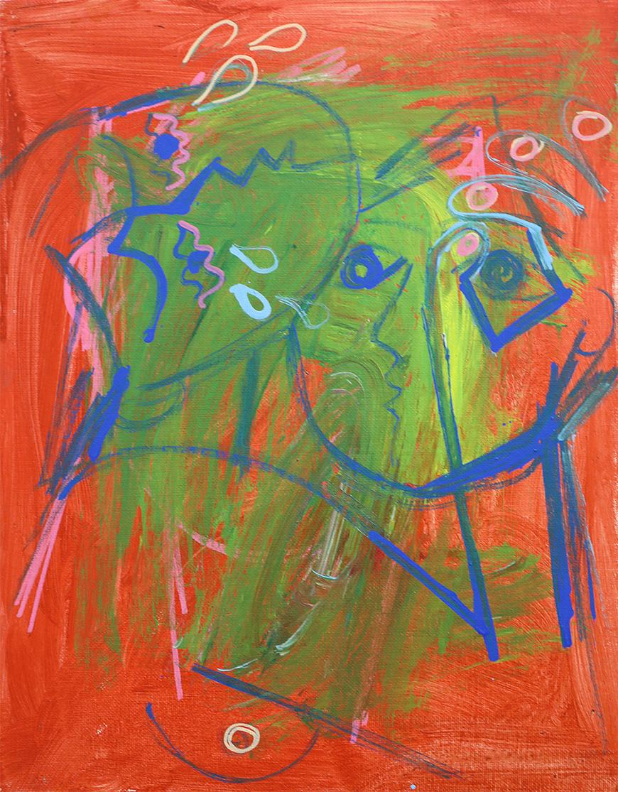 Abstract painting of two people holding each other both painted with a blue outline, one figure looking up the other looking left, set against an orange and green background.