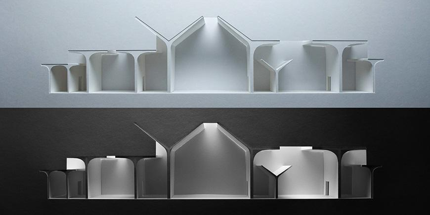 An architectural model which depicting light distribution.