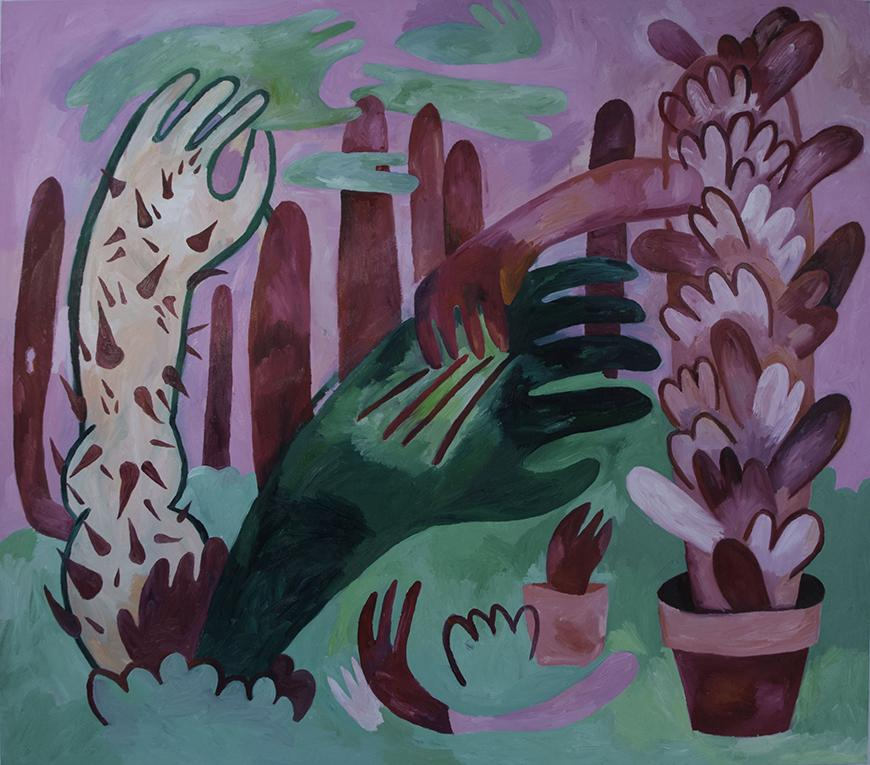 Painting of different sized hands in various hues of purple and green.