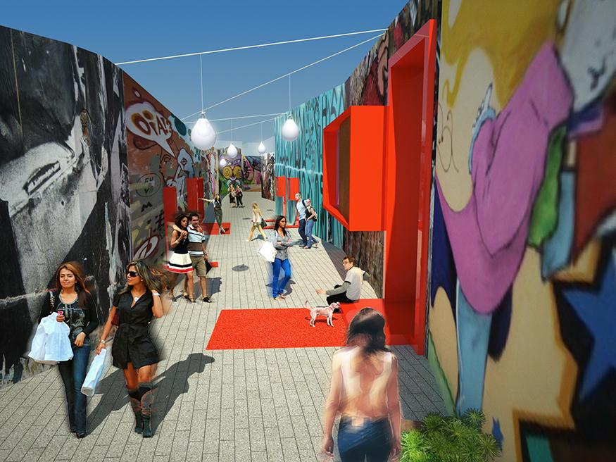 A modern park space consisting of a series of walkways enclosed by walls displaying street art