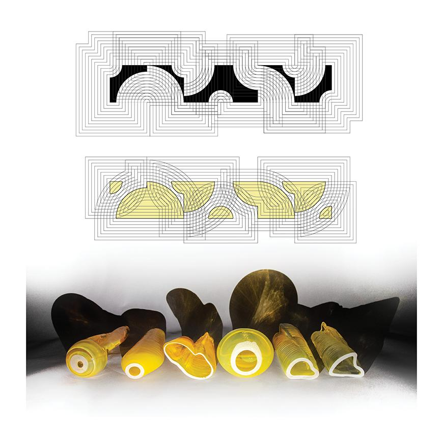 Yellow, abstracted objects made out of glass.