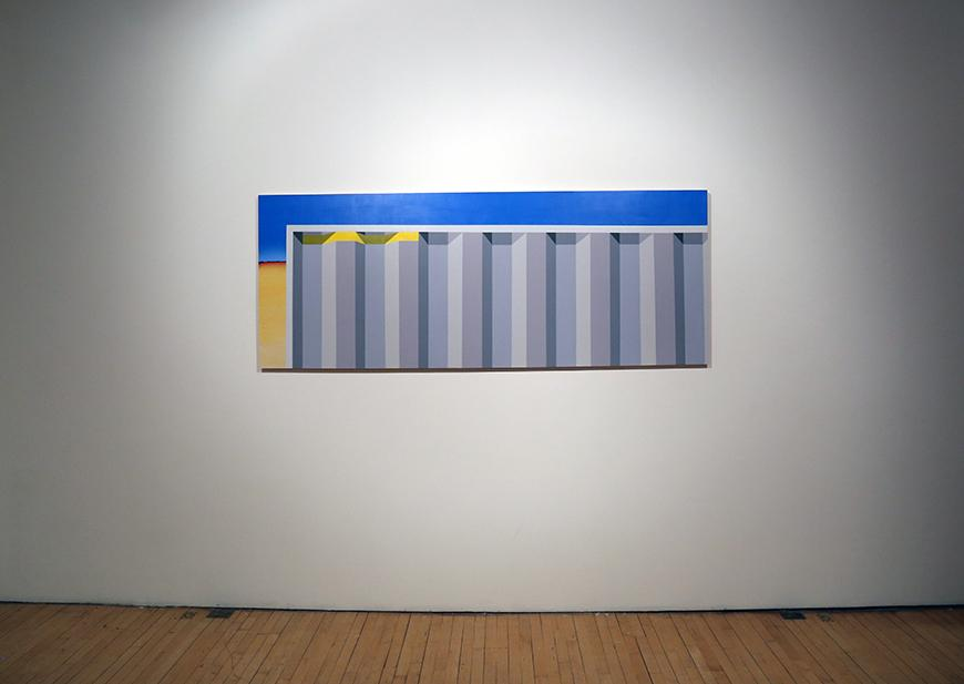 Gallery view of a painting featuring vertical gray stripes against a blue and cream background.
