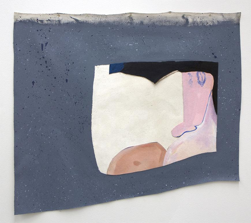 Abstract painting of a blue gray background with a light gray strip on top, has black, pink, tan, and cream colors inside.
