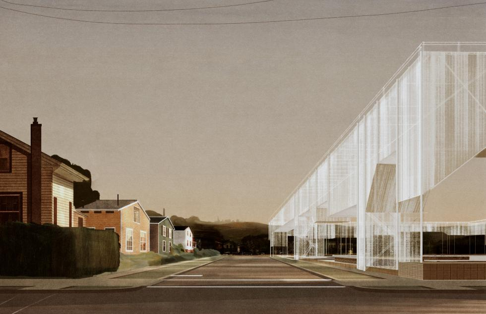 Digital rendering of an architectural structure across from a series of suburban houses.