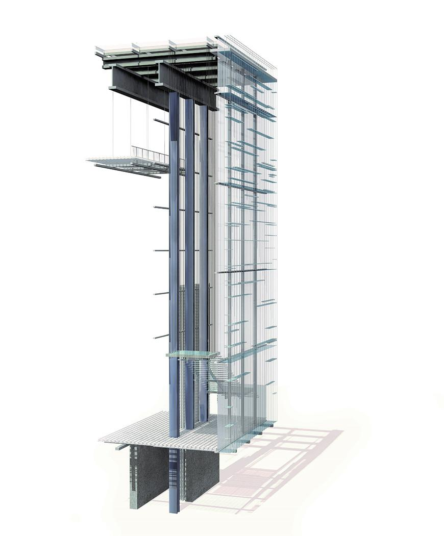Digital rendering and cross section of a multi-story building.