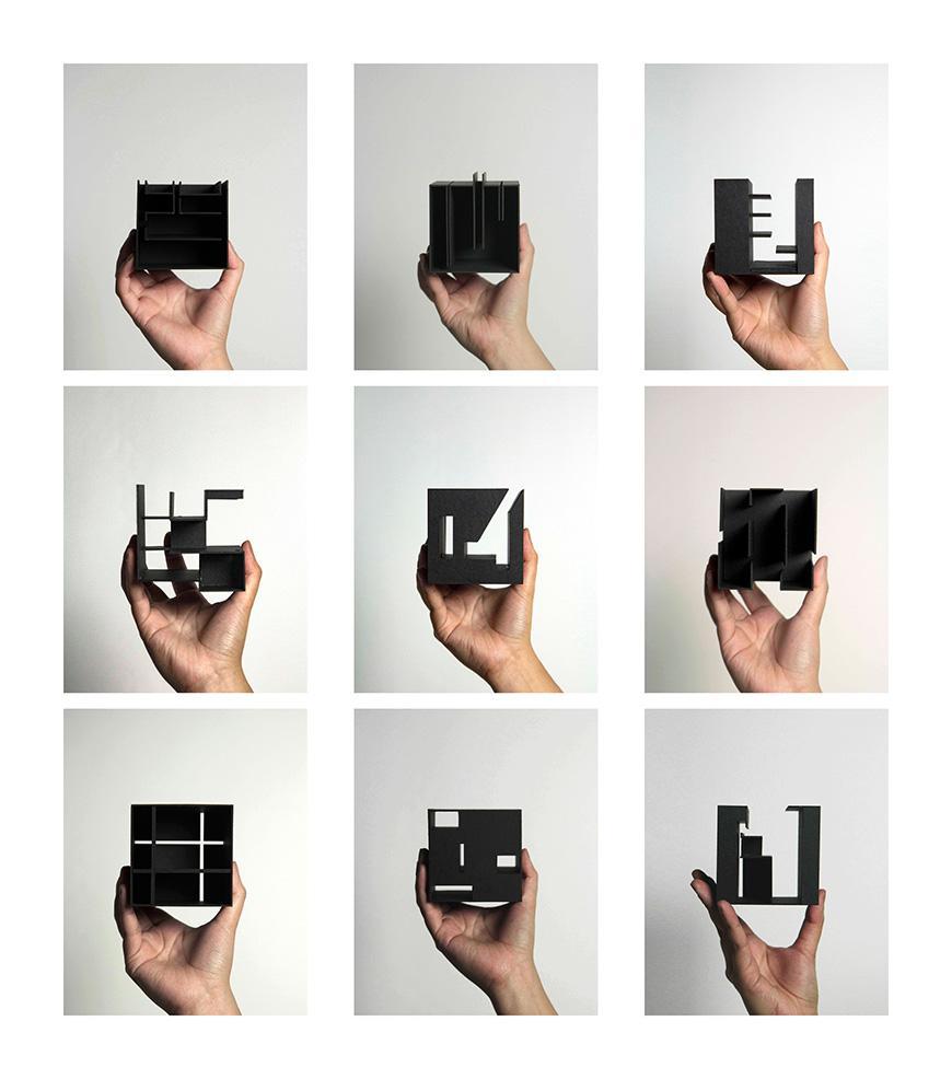 A small black architectural model