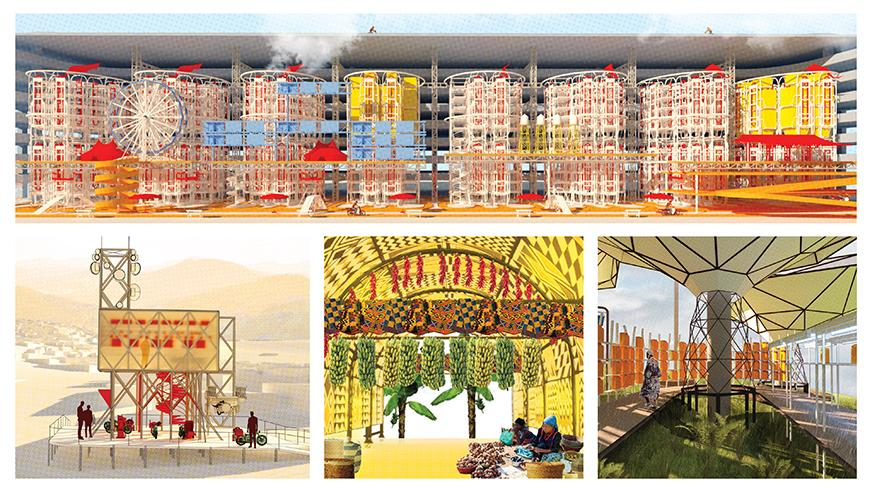 Digital rendering of the interior and exterior of a colorful architectural space based in Kigali.