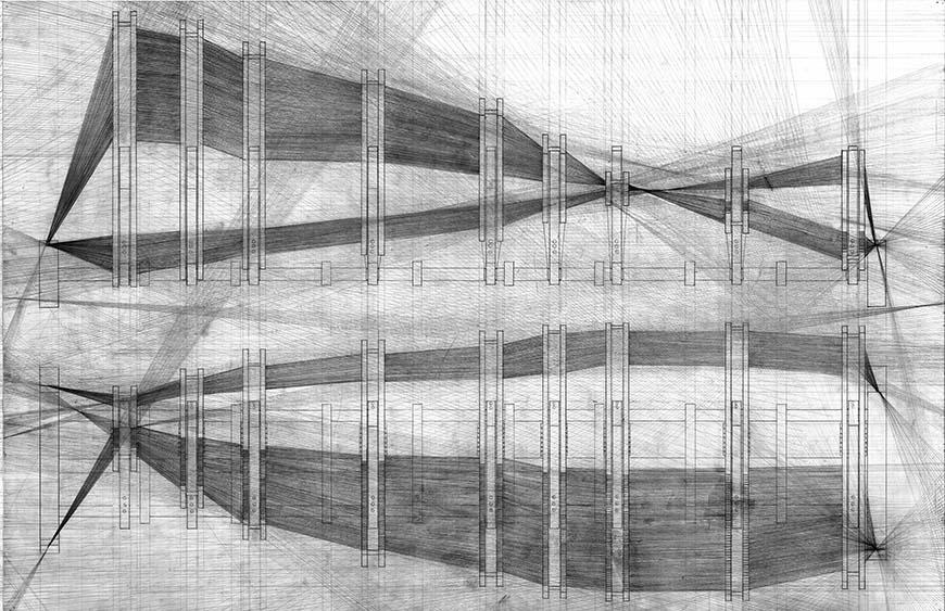 Drawing of a pavilion structure.