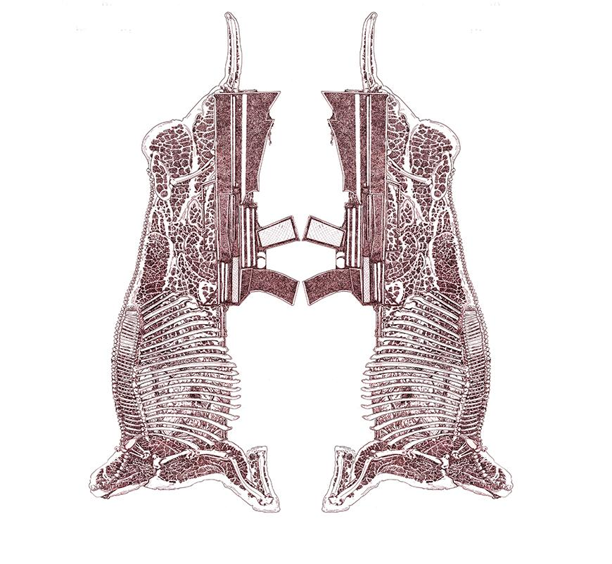 Mauve pen drawing of a mirror image of a beef cutout with a gun drawn on the end.