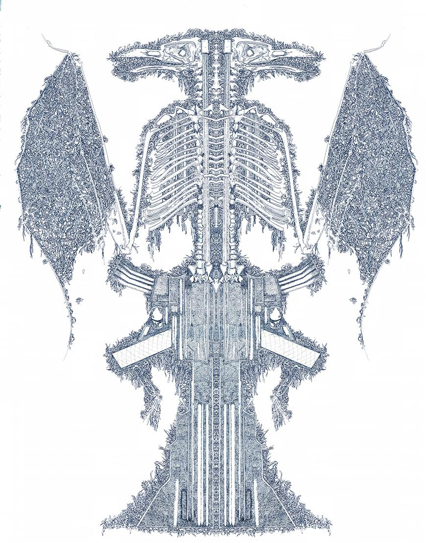 Blue pen drawing of a bird skeleton with intricate designs and a disguised gun drawn in the middle.