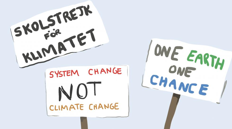 Hand drawn signs featuring different climate change texts against a light grey background.