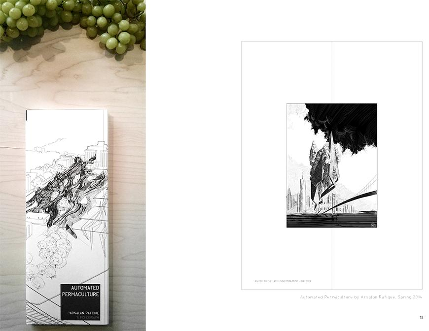On the left, photograph of tall book on wooden surface with green grapes on the top of the image, and on the right a spread image from the book.