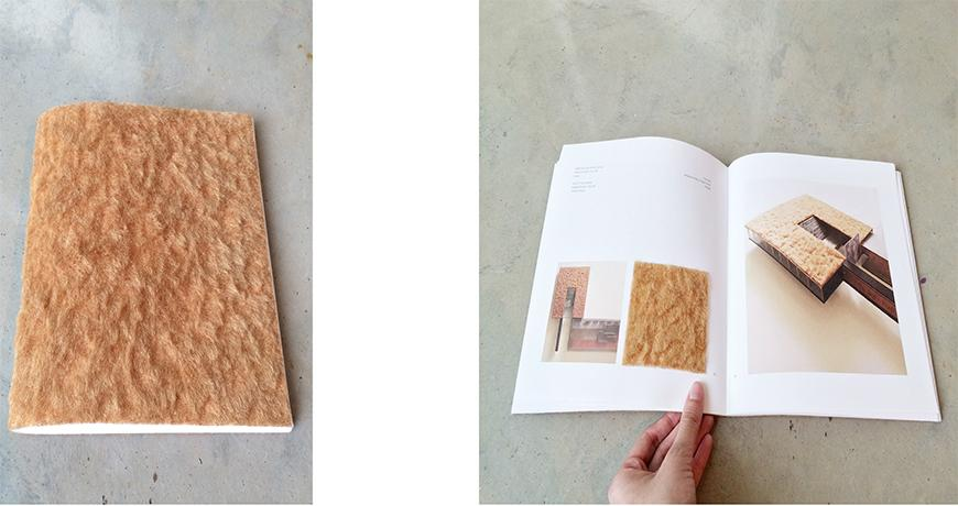 Two photographs of book with furry amber cover, closed on the left and open to a spread on the right.
