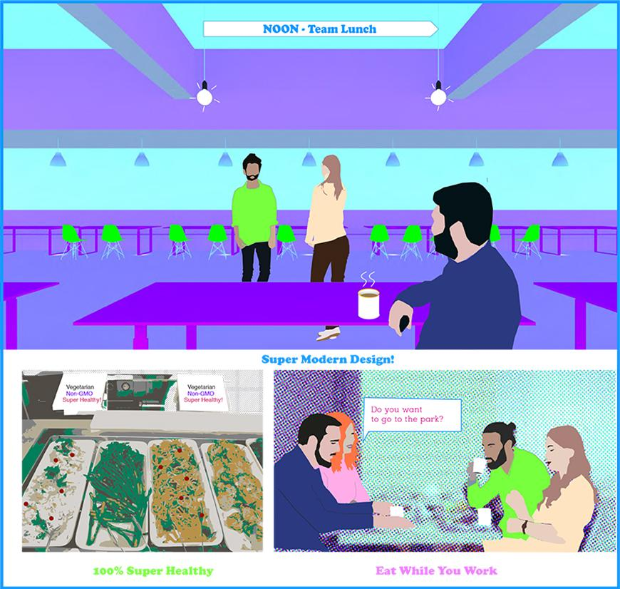 Three panels from a graphic novel depicting lunch in an office setting