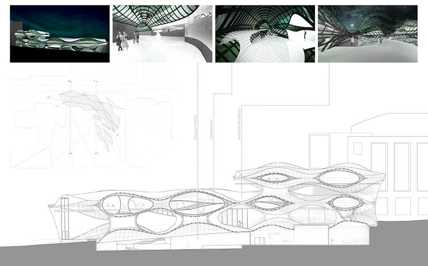 series of small and large renderings and sections.