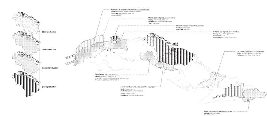 Map of material production for panels in Cuba.
