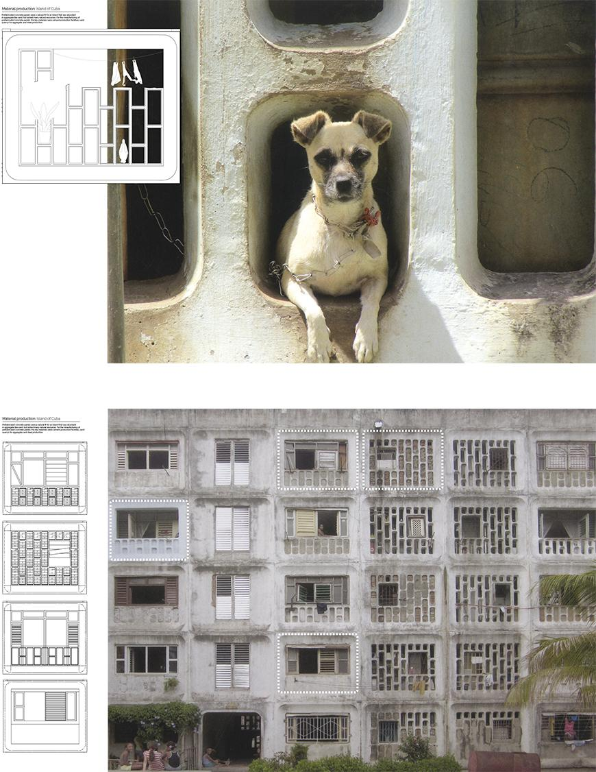 Drawings and photographs of panels of buildings, one with a dog in it and the other of the front of a building