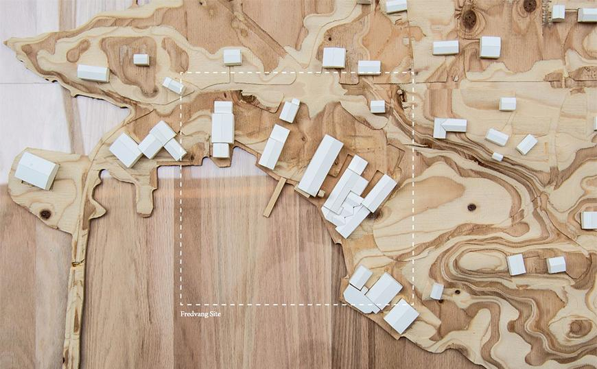 Site-mode made of CNC-milled plywood and white chipboard.