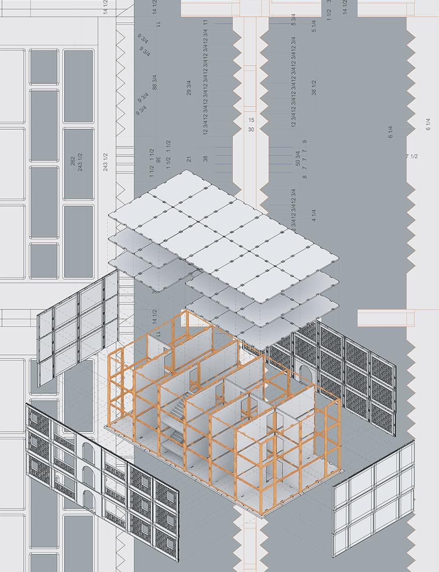 Exploded axonometric of I-464 panel and wet joint assembly over elevation drawings of both.