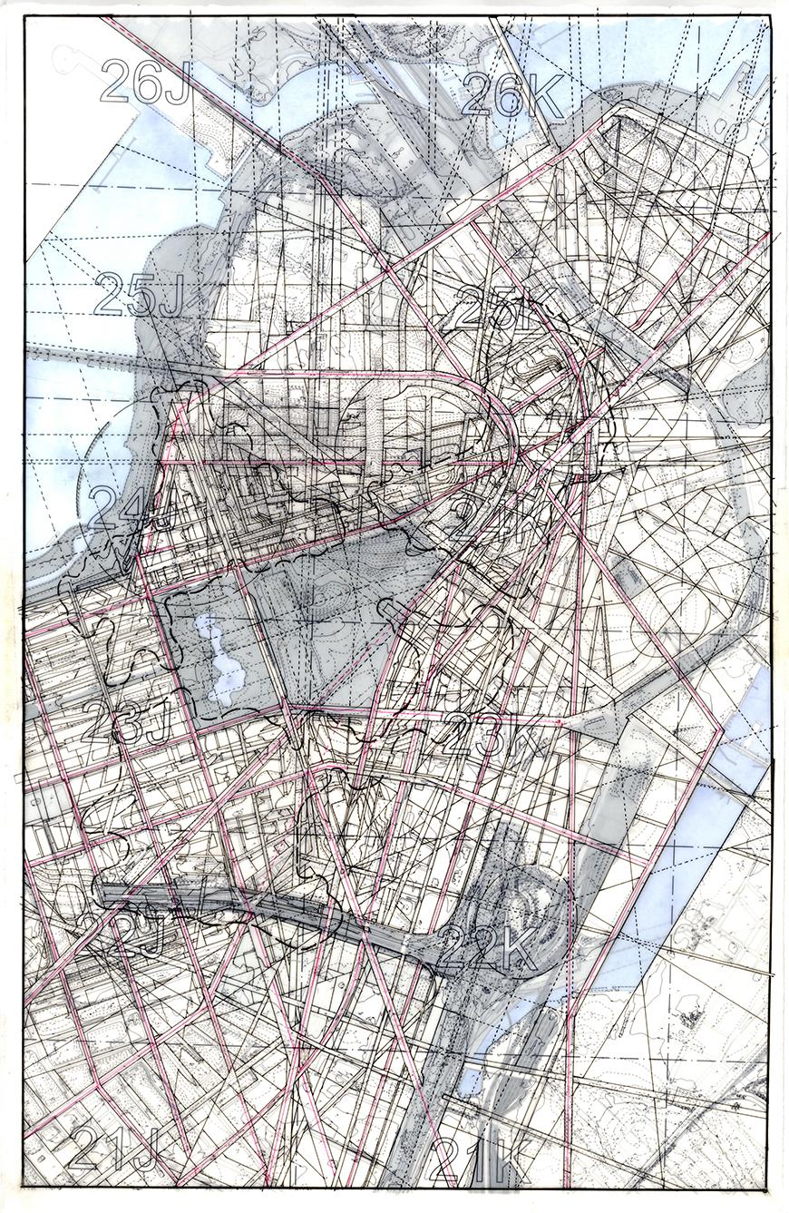 Composite drawing of lines and tones over map of Boston, Massachusetts.