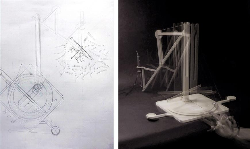 Isonometric drawing and multiple exposure photograph of drawing machine.