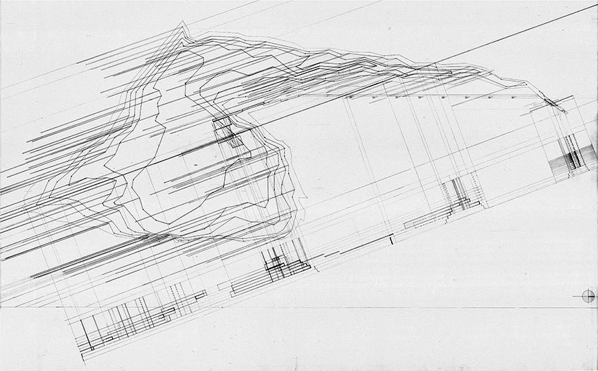 Composite drawing of plan with construction lines to corresponding cross-sections.