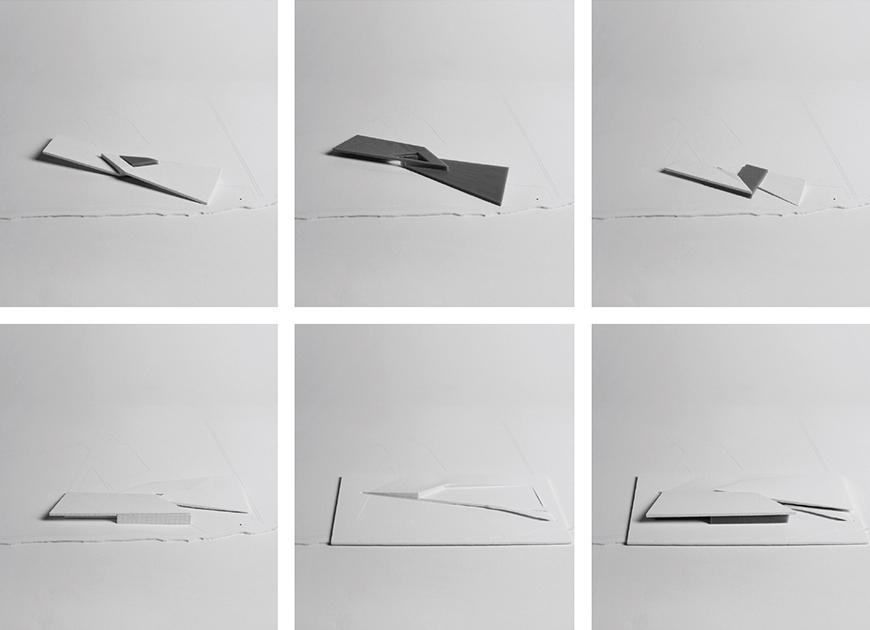 six photographs of conceptual models made of white and gray paper and foam materials.