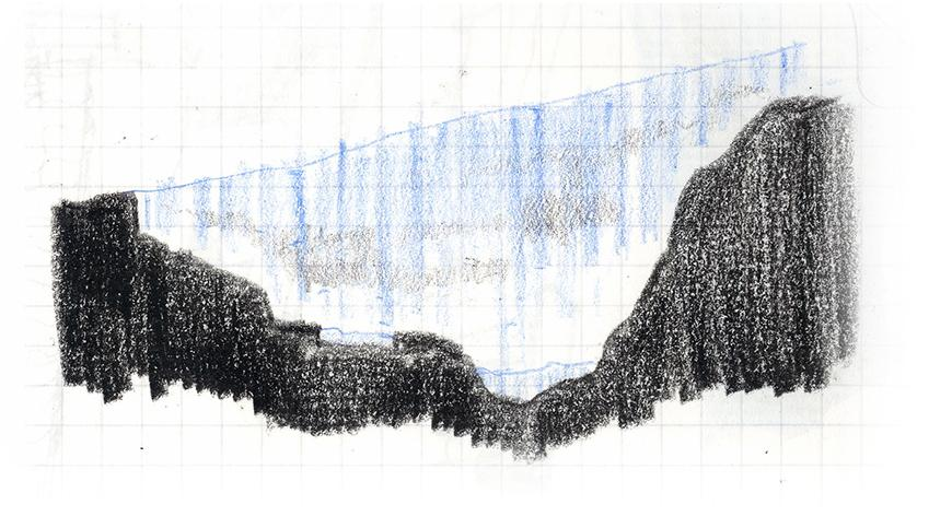 Diagram of cross-section cut of gorge with conecptual sketch of light, blue curtain-like mass bridging from one side of the gorge to the other.