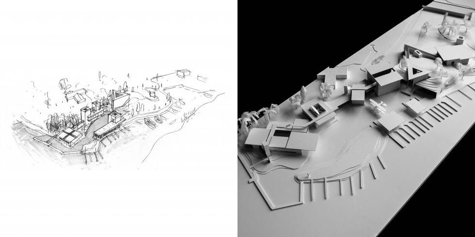Drawing and a photograph of model in aerial perspective of building proposal and surrounding site.