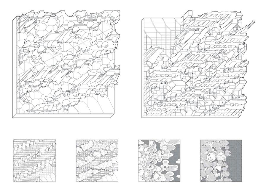 Two axonometric drawings showing curved, cliff and butte-like topologies rising up from a grid on a square slab.