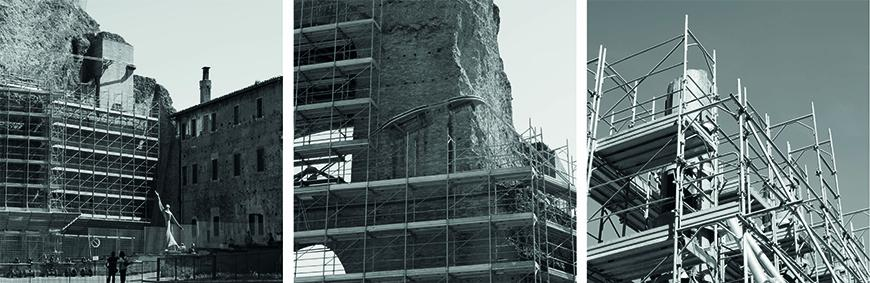 Three black and white photographs of site conditions in an urban context showing scaffolding covering building facades and details for rennovation or restoration purposes.