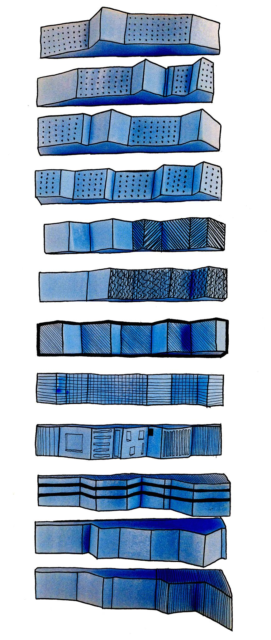 Diagrammatic drawing of banded volumes with different angular profiles, toned and shaded with blue watercolors, and with diferreent types of black markings over that to suggest different surface qualities.