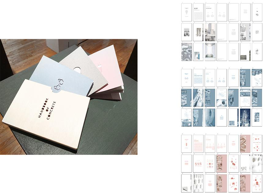Left, photograph of three books and containing sleeve, one gray, oe blue, and one pink, and on the right sets of pages from each booklet.