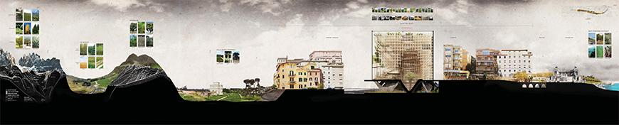 Conceptual section drawing and collage showing an imagined section cut that shows several elements of the italian landscape and geography from left to right passing through towns in the country-side, the peripheries of Rome, the proposed project, the historic center, and finally the mediterranean sea on the right.