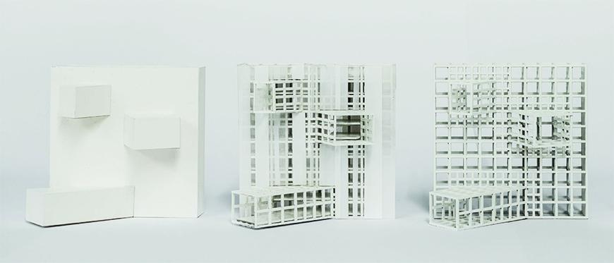 Three variations of a model ranging from solid to framing