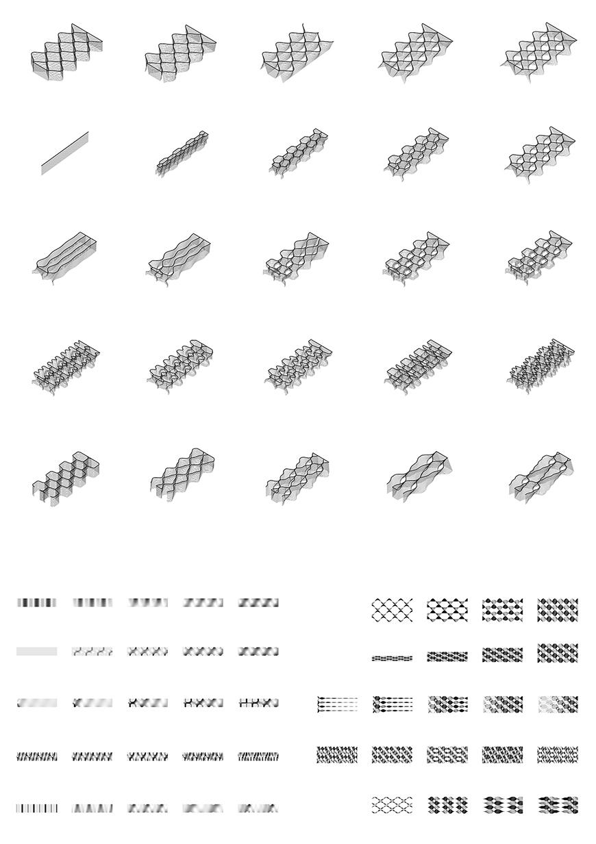 Black and white drawing of block variations.