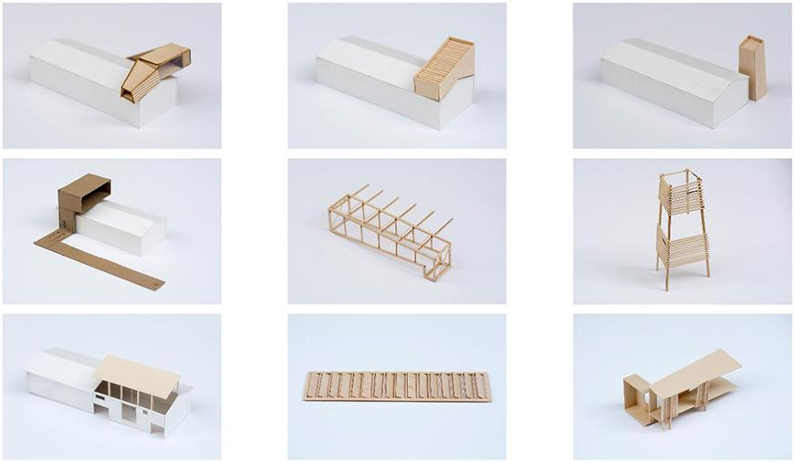 Photographs of nine study models made with chipboard, basswood, and white paper.