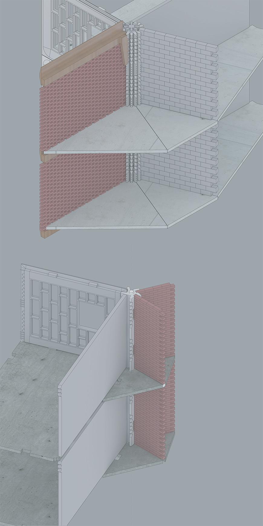 Axonometric drawing of proposed column and possible combinations with standardized panels, brick, and concrete walls.