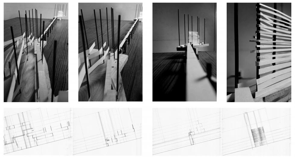 Sequence of point-of-view photographs of model in black and white, each with accompanying drawing of cross-section below.